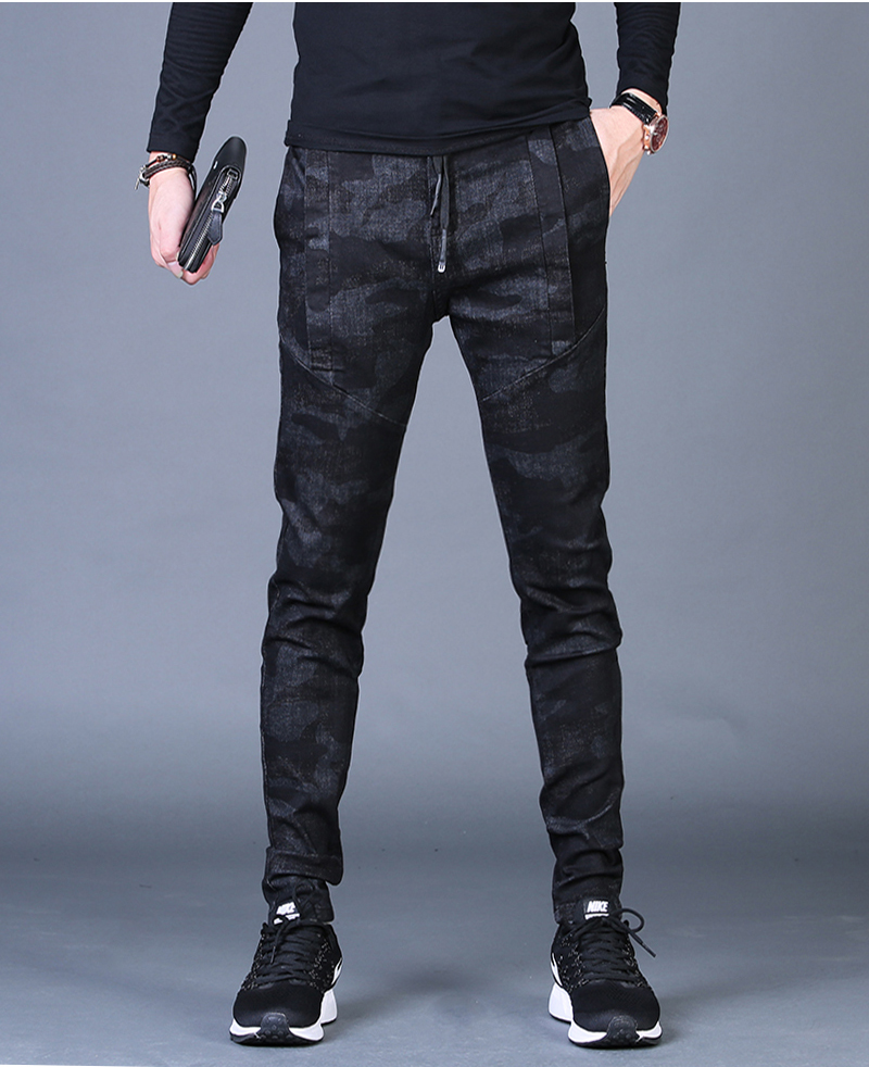 Free shipping new fashion men's male casual Original camouflage jeans men plus velvet autumn stitching pants Slim Korean C3129 76