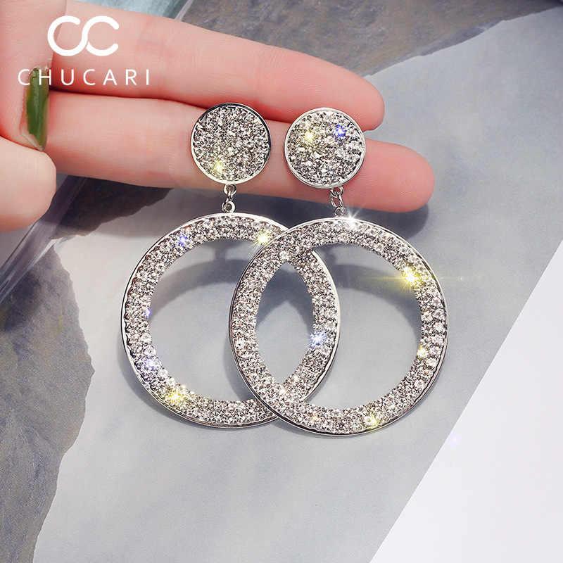 Chucari brincos redondos do vintage para as mulheres cor de ouro metal grandes brincos 2019 moda jóias prateado pendurado jóias verão