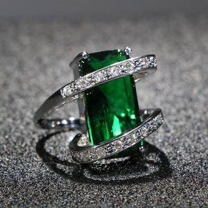 Cellacity Rectangle Emerald Ring for Women Trendy Silver 925 Jewelry with Gemstones Geometry Anniversary Party Rings Wholesale
