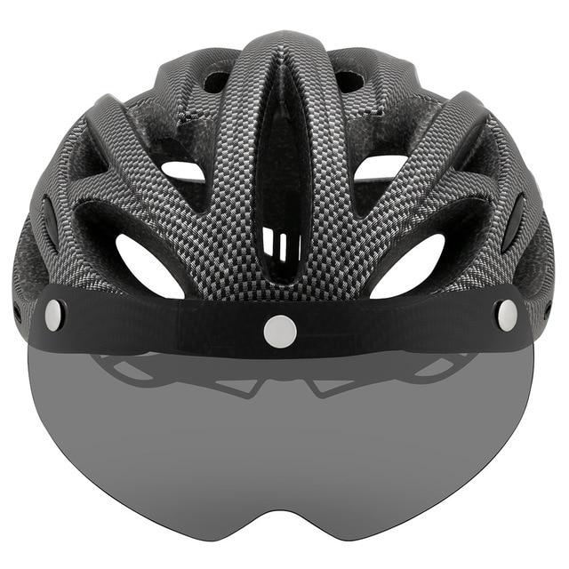 Cairbull ultraleve ciclismo capacete com viseira removível óculos de proteção da bicicleta lanterna traseira intergrally-moldado mountain road mtb capacetes 230g 2