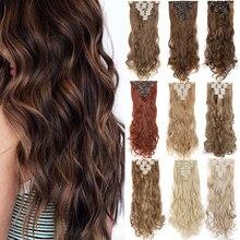S-noilite 24 polegada 140g 8 Pçs/set 18 Clipes ins Clipe dentro em Extensões Do Cabelo Encaracolado Postiços clipe Sintético em cabelo Natural para as mulheres