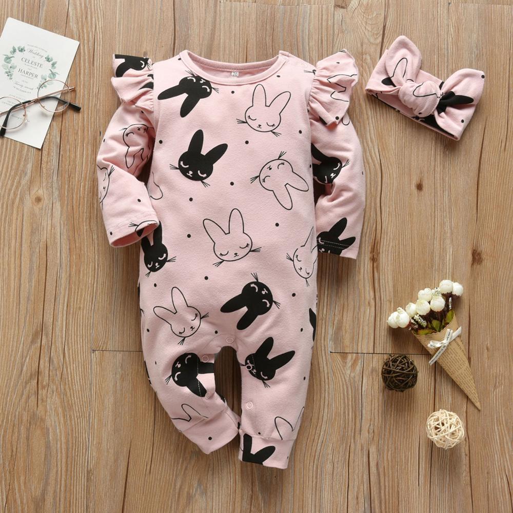 2Pcs Baby Girls Romper Cartoon Rabbit Pattern Cotton Long Sleeve Jumpsuit+Headband Outfits Set Newborn Infant Clothes | Happy Baby Mama