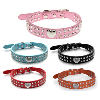 Soft Rhinestones Dog Collar PU Leather Padded Crystal Metal Heart Pet Collars for Small Medium Chihuahua