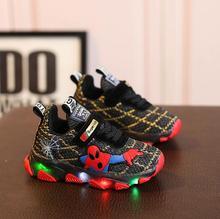 Led Luminous Spiderman Kids Shoes for Boys Girls Light Children Luminous Baby Sneakers Mesh Sport Boy Girl Led Light Shoes led luminous graffiti athletic shoes