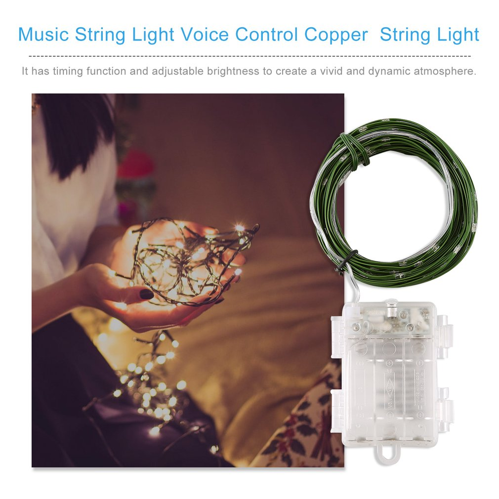 10M 100Led Music String Light Voice Control Copper Wire Multicolor Fairy String Light Holiday Decorative Lamp