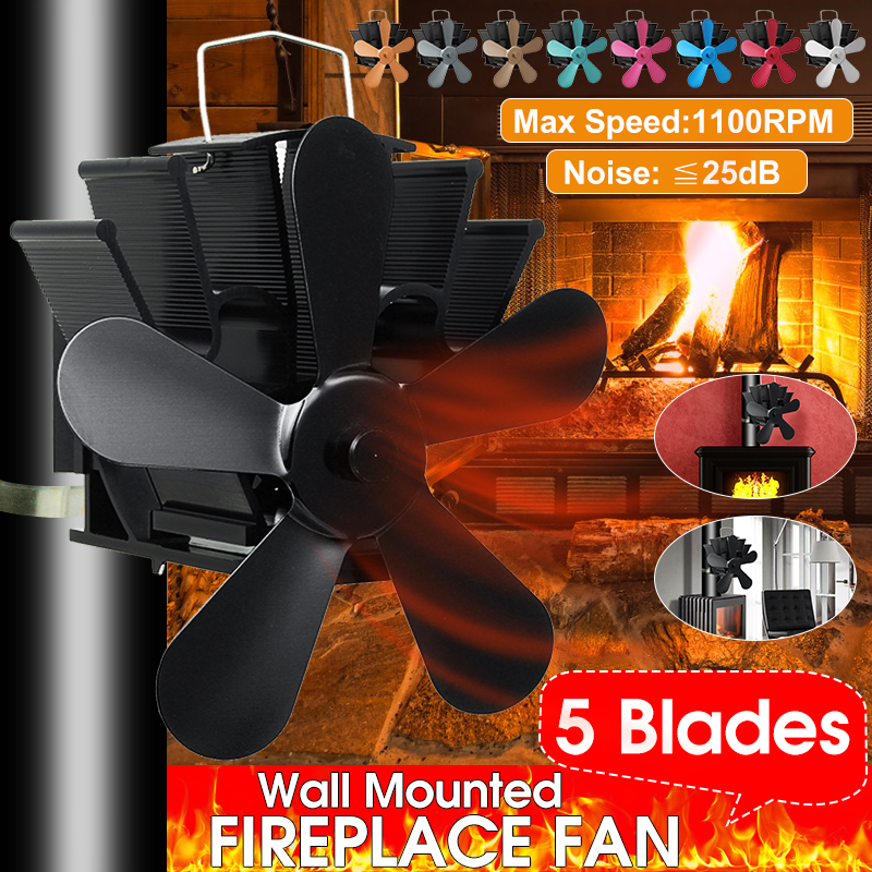Mounted Fireplace 5 Blade Heat Powered Stove Fan Komin Log Wood Burner Eco Friendly Quiet Fan Home Efficient Heat Distribution