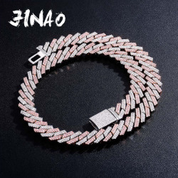 JINAO New 14mm Iced Out Micro Pave Cubic Zirconia Cuban Chain Necklace With Box Clasp Hip Hop Fashion Jewelry Gift Men Women