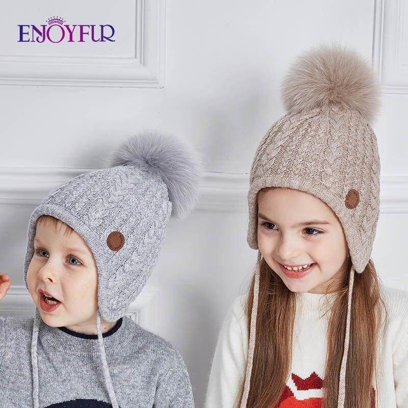 ENJOYFUR Winter Hats Pompom-Cap Ears Beanie Knitted Girls Cotton Warm Baby Children