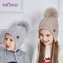 ENJOYFUR от 2 до 8 лет, детская шапка, детские зимние шапки для девочек и мальчиков, хлопковая плотная теплая вязаная шапочка с ушками, шапка с помпоном из лисьего меха