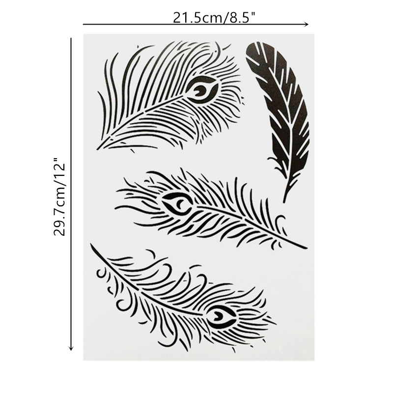 DIY Painting A4 Size Feather Pattern Layering Stencils Template For Wall Furniture Fabric Painting Decor Photo Album Decorative
