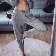 Calça moletom feminina algodão folgado, calça masculina cintura alta corrida hip hop casual mulher