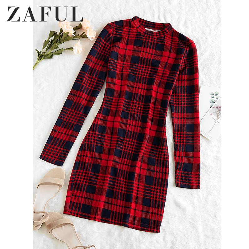 ZAFUL Plaid Dress Women Vintage Houndstooth Bodycon Sexy Mini Dress 2019 Winter Office Ladies Elegant Sheath Skinny Dress Femme