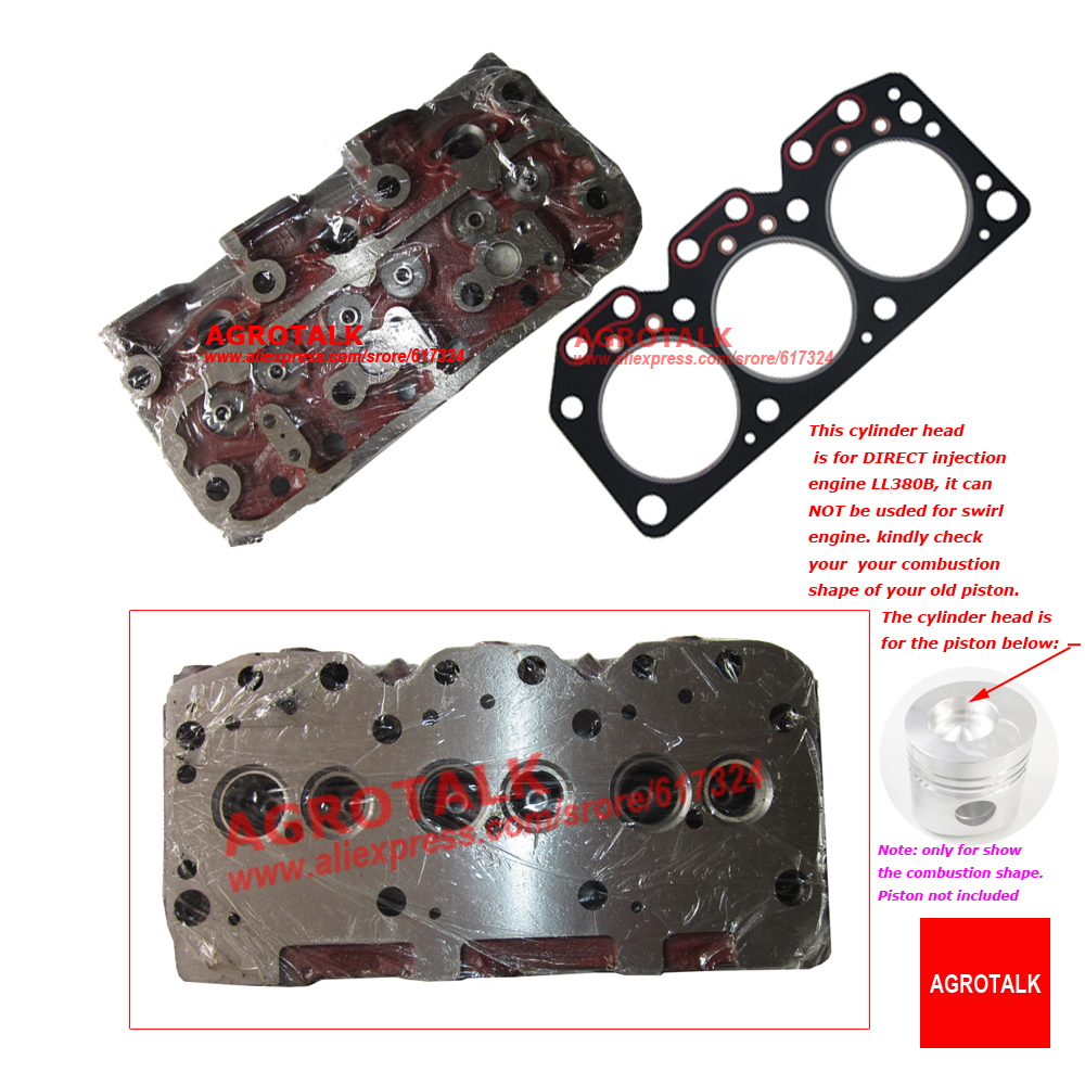 Cylinder Head With Head Gasket For Laidong Kama Engine LL380B, The Direct Injection Engine Model, Part Number:  L380B-03101