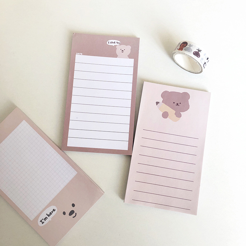 SIXONE 50 Sheets Ins Cartoon Kawaii Bear Note Paper Student Handbook Stationery Sticker Note Book Memo Pad Diary Message Card