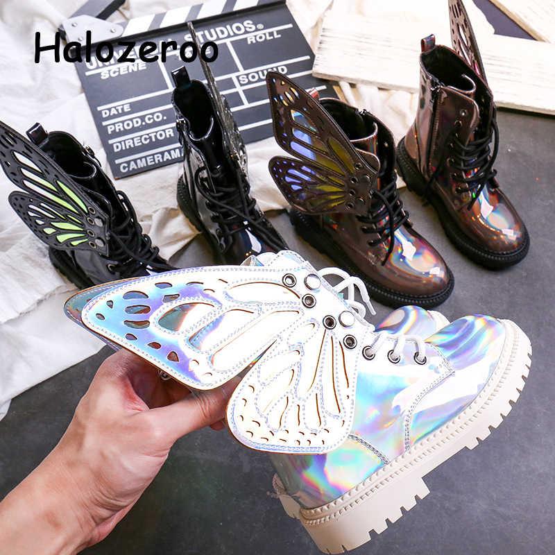 Mới Thu Trẻ Em Martin Giày Bé Gái Giày Da PU Trẻ Em Bướm Mắt Cá Chân Giày Bé Trai Đen Thương Hiệu Giày Mềm Thời Trang giày