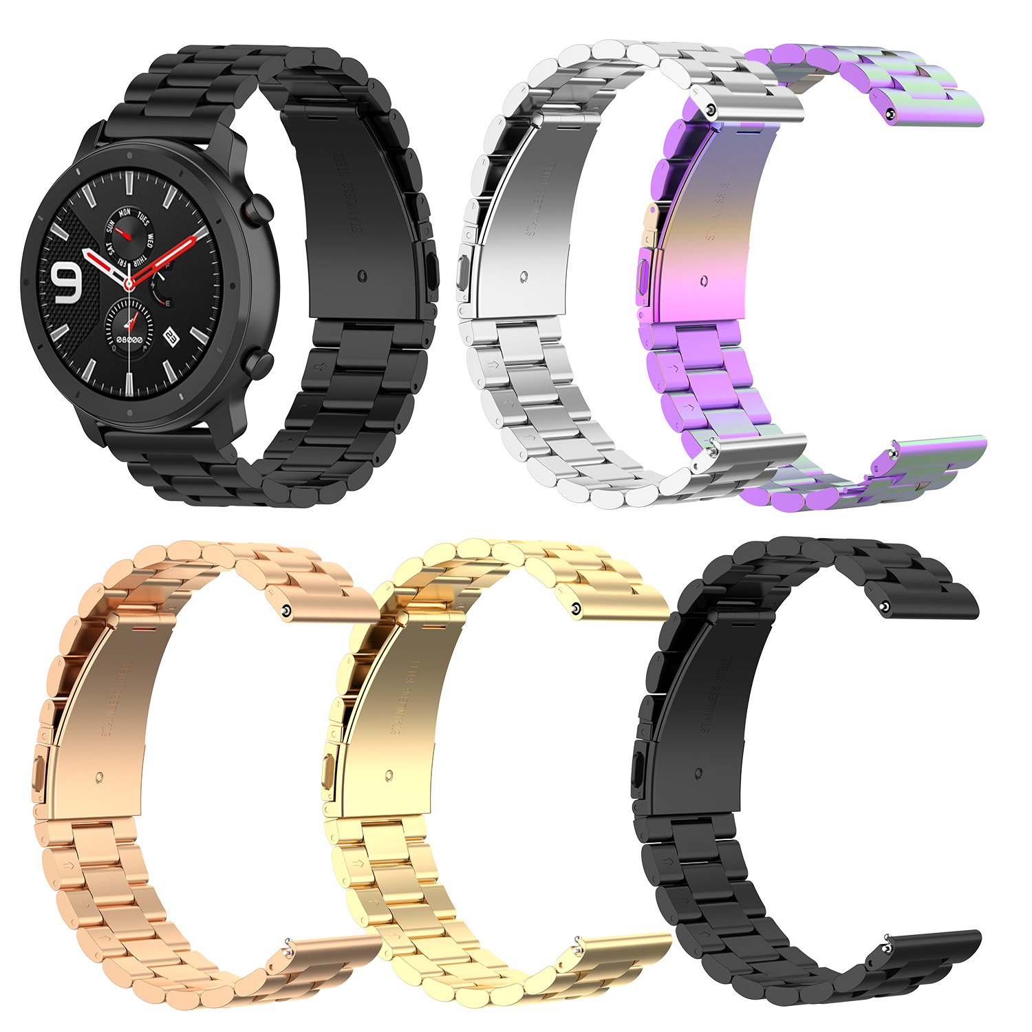 20mm Stainless Fitness Band For Amazfit GTR 42mm Samsung Galaxy Watch Active 42mm 22mm Strap Belt For Amazfit GTR 47mm Ticwatch