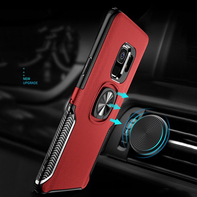 Q UNCLE Leather Texture Stand Mobile Phone Case For Samsung Galaxy J4 J6 J8 A8 2018 S9 S8 Plus Note 9 8 with Ring Car Magnetic