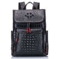 Crocodile Genuine Leather Top Men's Backpack with Laptop 13'3 Compartment Women Leather Travel Daypacks for Work Man Designers