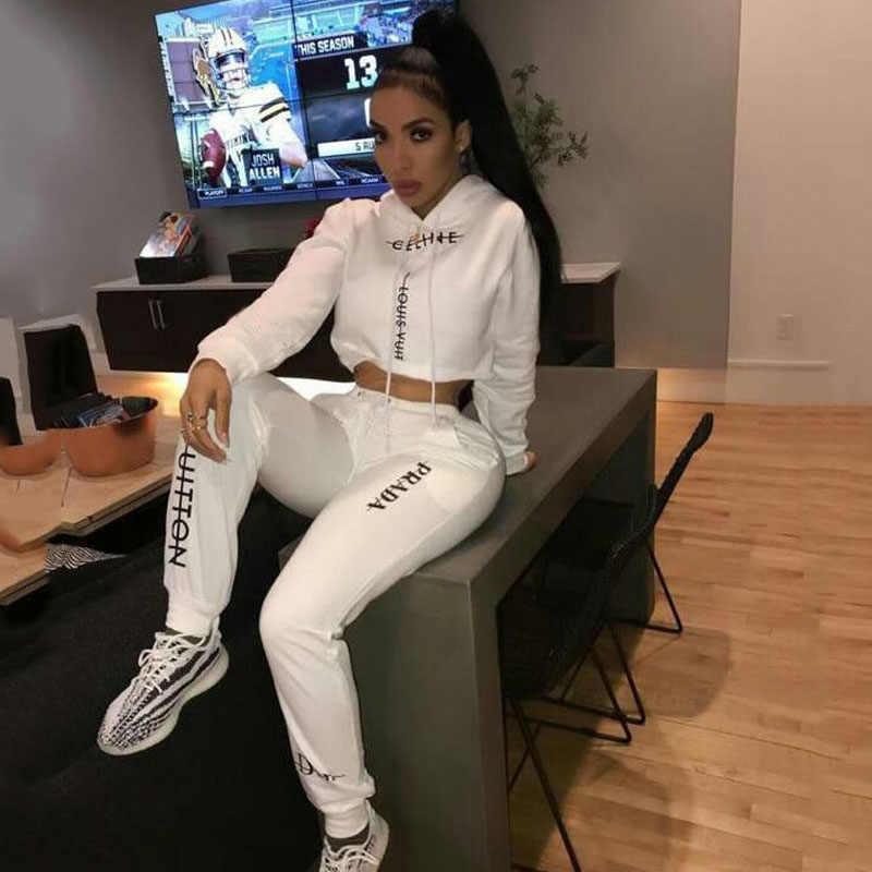 Conjuntos de 2 piezas para mujer 2019 de algodón de moda completo HighStreet Pullover Sweatsuit blanco carta deportes chándal para mujeres conjuntos de ropa