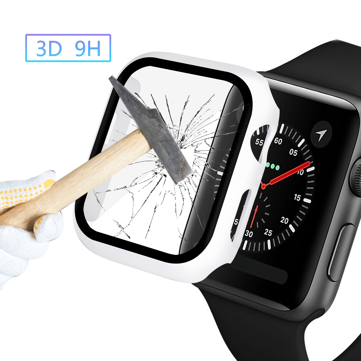 Watch Cover Case for Apple Watch 5/4 40MM/44MM PC Bumper with Glass Protector Film for iwatch Series 3/2 38 42MM  accessories 4
