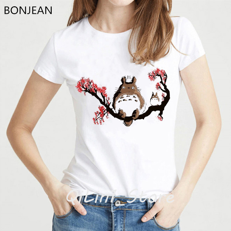 Japanese Anime Totoro t shirt women Miyazaki Hayao cartoon female t-shirt femme <font><b>Spirit</b></font> <font><b>Away</b></font> <font><b>tshirt</b></font> Studio Ghibli clothes tops image