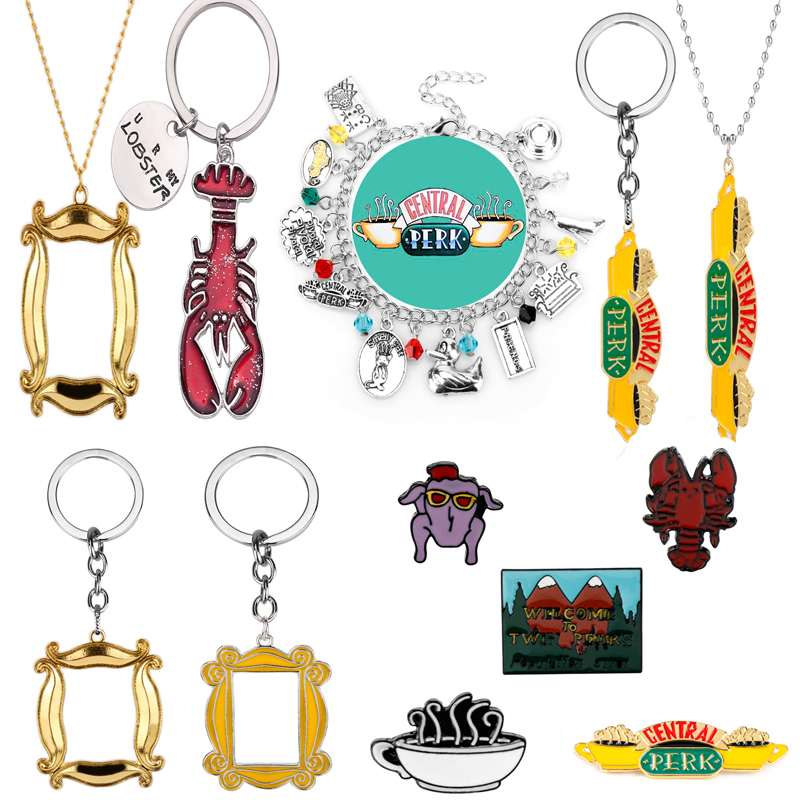 TV show Friends Keychain Necklace Central Perk Coffee Time Photo Frame Key Chain For Best friend Car Keyring llavero Jewelry Gif image
