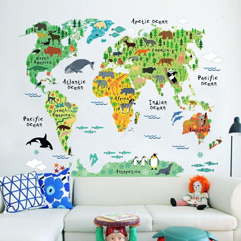 Красочные животные карта мира настенные стикеры мультфильм карта Съемные ПВХ обои детская спальня наклейки постеры для украшения дома