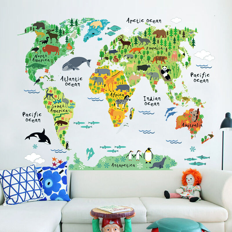 Colorful Animal World Map Wall Sticker Cartoon Map Removable PVC Wallpaper Children Bedroom Decals Posters Home Decoration