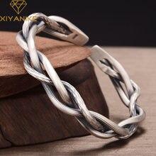 XIYANIKE – Bracelet torsadé rétro en argent Sterling 925, bijoux de Couple élégants assortis avec tout, ouverture réglable