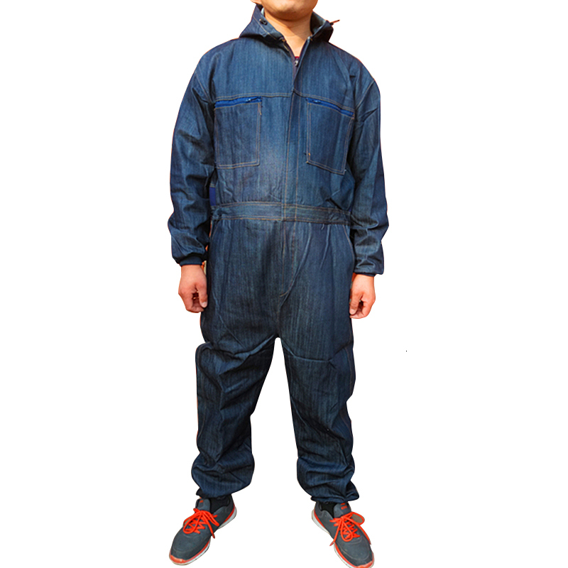 Men Cotton Blend Zip-Front Work Protective Coveralls Denim Overalls For Repairman Machine Auto Repair Electric Welding P004