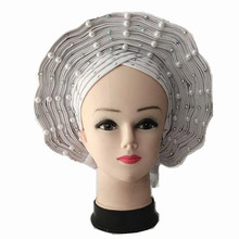 Ladies Sego Headtie Women Headwear Headwrap White Nigerian Head wrap African Headscarf for Wedding and Party