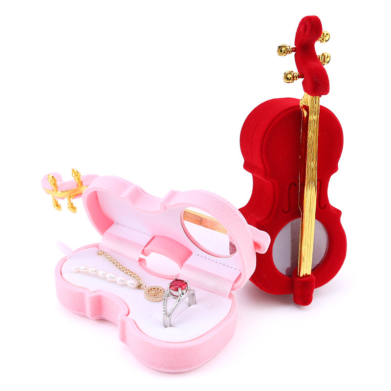 1 Piece unique Cello Gift Box Holder Jewelry box case Velvet Wedding Ring Box for Earrings Necklace Display & Packaging 2 colors