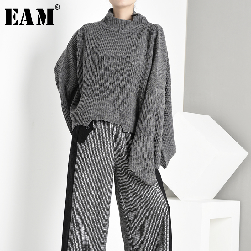 [EAM] Asymmetrical Big Size Knitting Sweater Loose Fit High Collar Long Sleeve Women New Fashion Autumn Winter 2020 1A6920