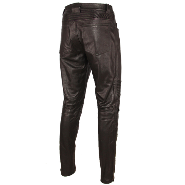 Fashion Vintage Black Men Leather Pant Thick 100% Natural Cowhide Motorcycle Biker Trousers Moto Pants Protector Available M350 4
