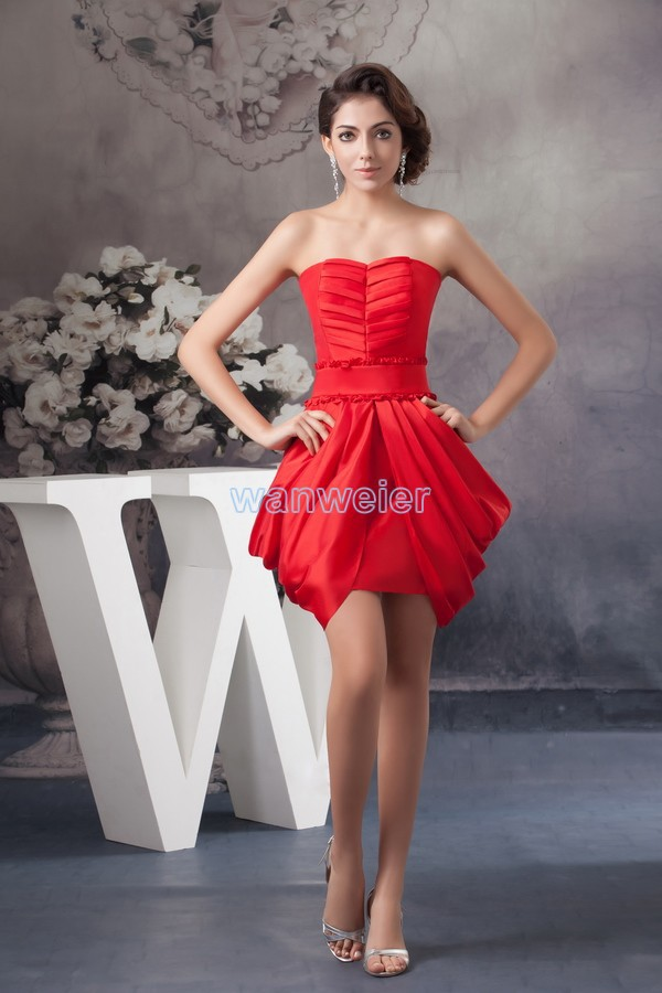 Free Shipping Brides Maid Dress 2016 New Arrival Pleat Plus Size Hot Women's Formal Mint Red Ball Gown Short Bridesmaid Dresses