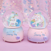 Creative Dream Unicorn Snow Globe Crystal Ball Rotating Music Box Christmas Decoration For Home Home Decoration Accssories