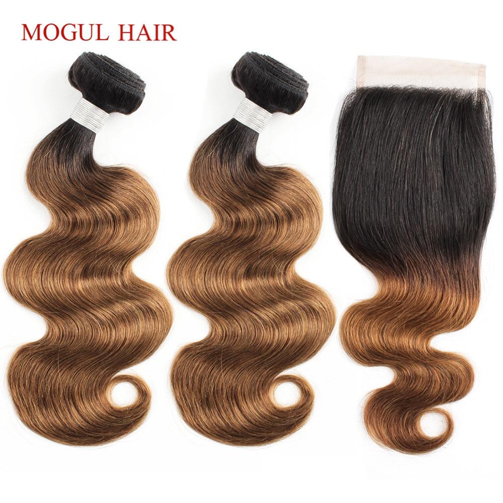 MOGUL HAIR Color 1B 30 Ombre Bundles With Closure Auburn Brown Hair Brazilian Body Wave Non Remy Human Hair Extension