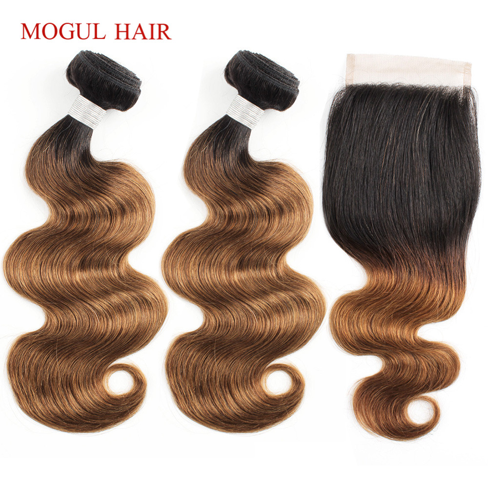 MOGUL HAIR Color <font><b>1B</b></font> <font><b>30</b></font> Ombre <font><b>Bundles</b></font> <font><b>with</b></font> <font><b>Closure</b></font> Auburn Brown Hair Brazilian Body Wave Non Remy Human Hair Extension image