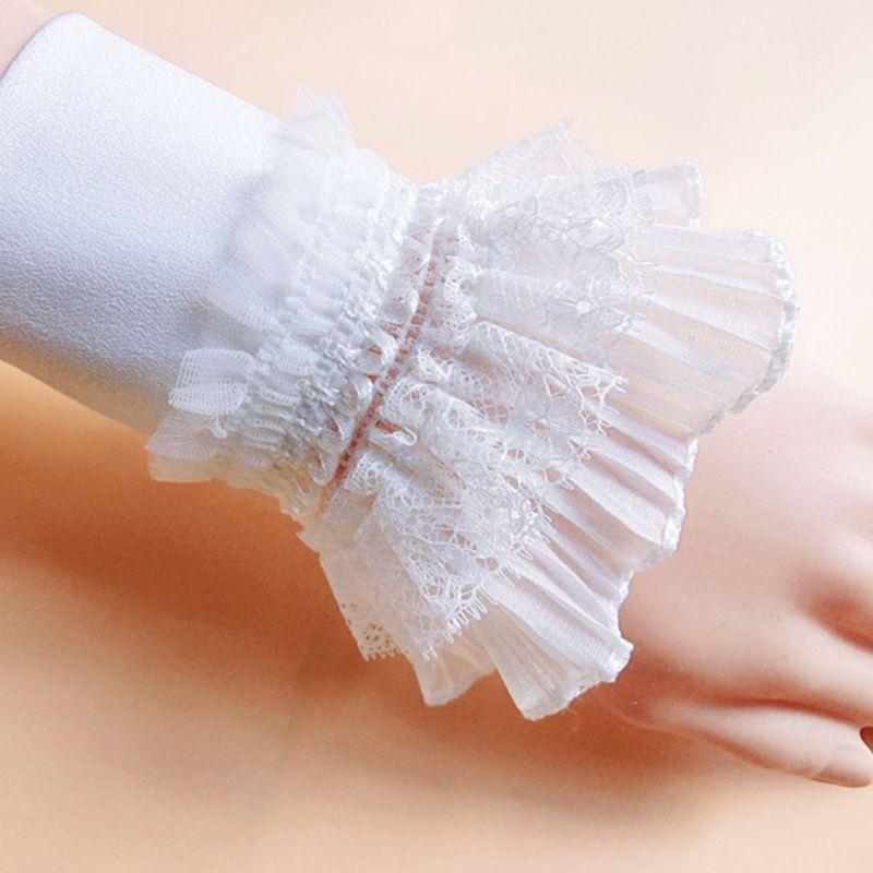 European Women Tiered Ruffles Lace Horn Cuffs Wrinkled Layered Princess Retro White Decorative Fake Sleeve Wrist Warmer