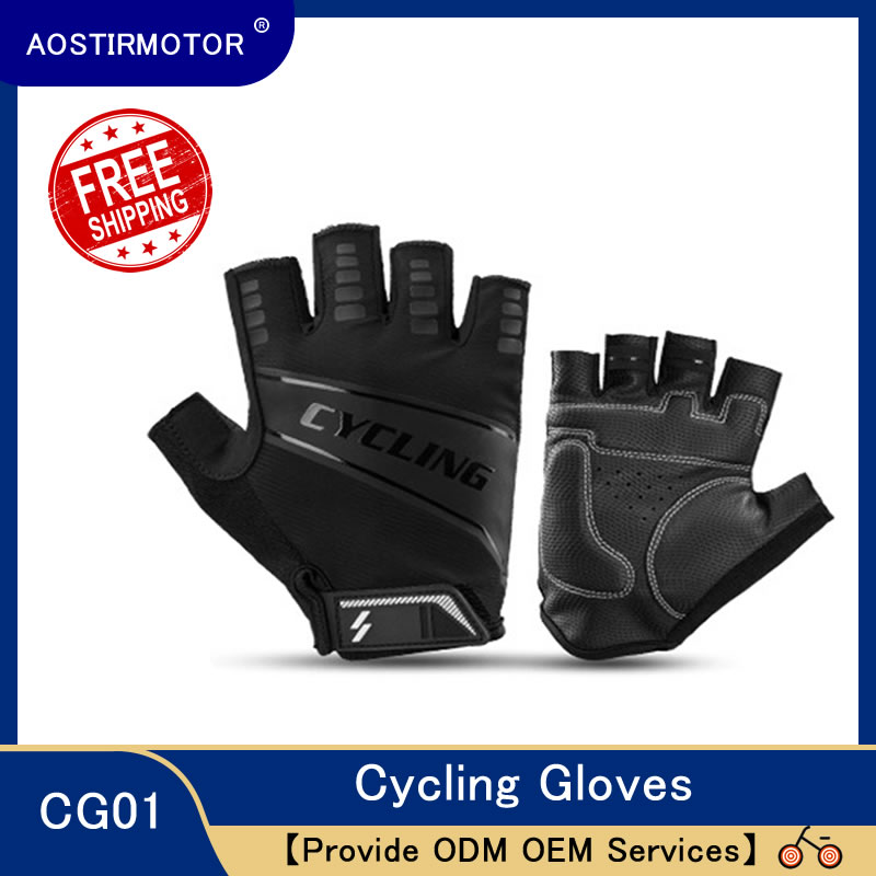 AOSTIRMOTOR Half Finger Gloves Cycling Gloves Bicycle Riding Gloves Anti Slip Outdoor Winter Summer Soft Sport Gloves