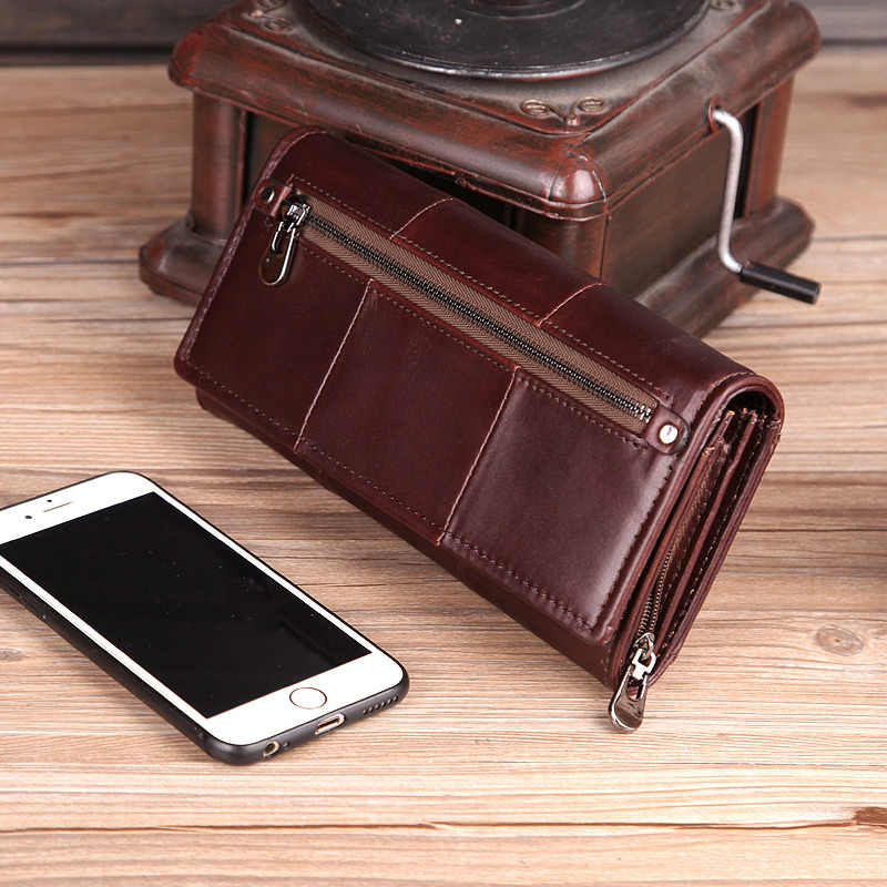 Cobbler Legend Long Genuine Leather Wallet Women 2019 Cards Holder Female Zipper Purses with Phone Bag Big Valet Carteira
