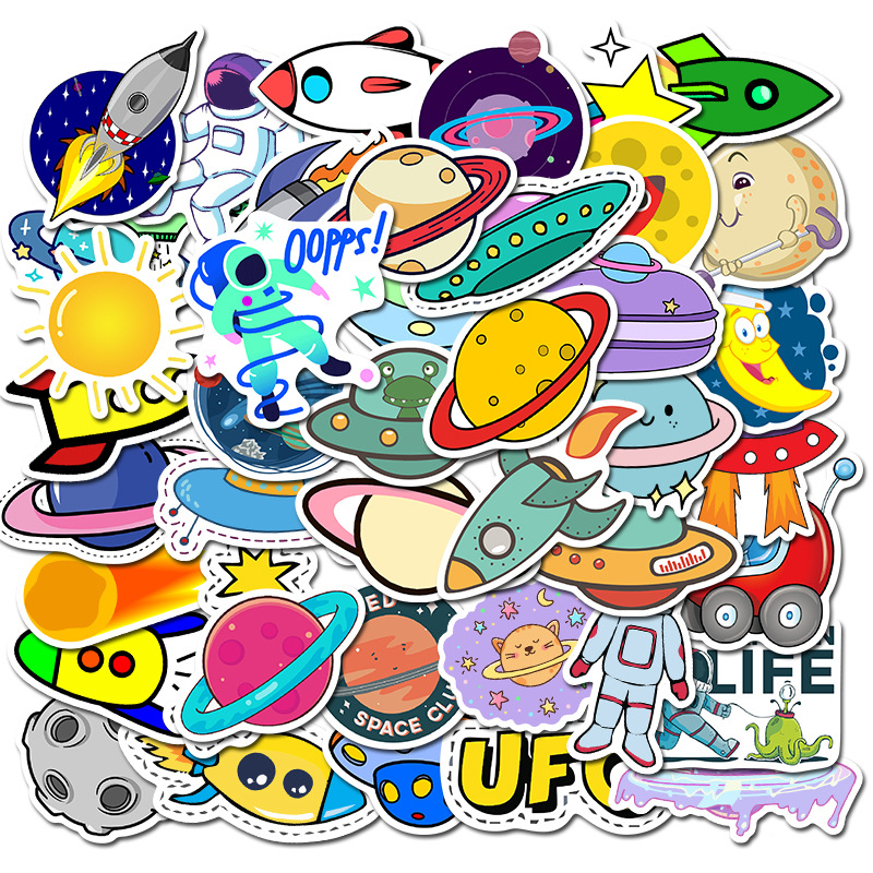 50pcs Funny Space Star Planet Astronaut Cartoon Sticker Anime Laptop Stickers Skateboard Motorcycle Toys For Children Sticker F4