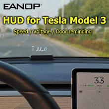 Eanop Hud E100 Head Up Display Speed Projector Snelheidsmeter Draaien Licht Gear Gids Batterij Display Voor Tesla Model 3 Auto toegang