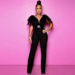 ADYCE 2020 New Summer Black Jumpsuit Women's Party Elegant V-neck Sleeveless Lace-paneled Leather Straight Vestidos jumpsuit