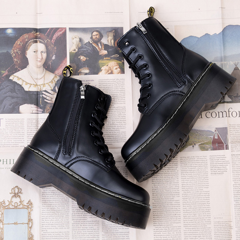 Platform Boots Cowboy Women Shoes Leather Ankle Boots For Women Boot Winter Punk Thick Bottom Motorcycle Boots Comfort Mujer Fur(China)