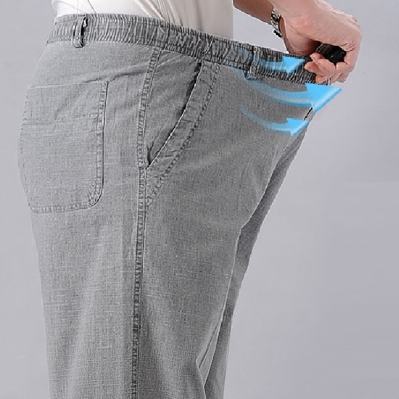 Men s High Waist Trausers Summer Pants Clothing Novelty 2020 Linen Loose Cotton Elastic Band Thin