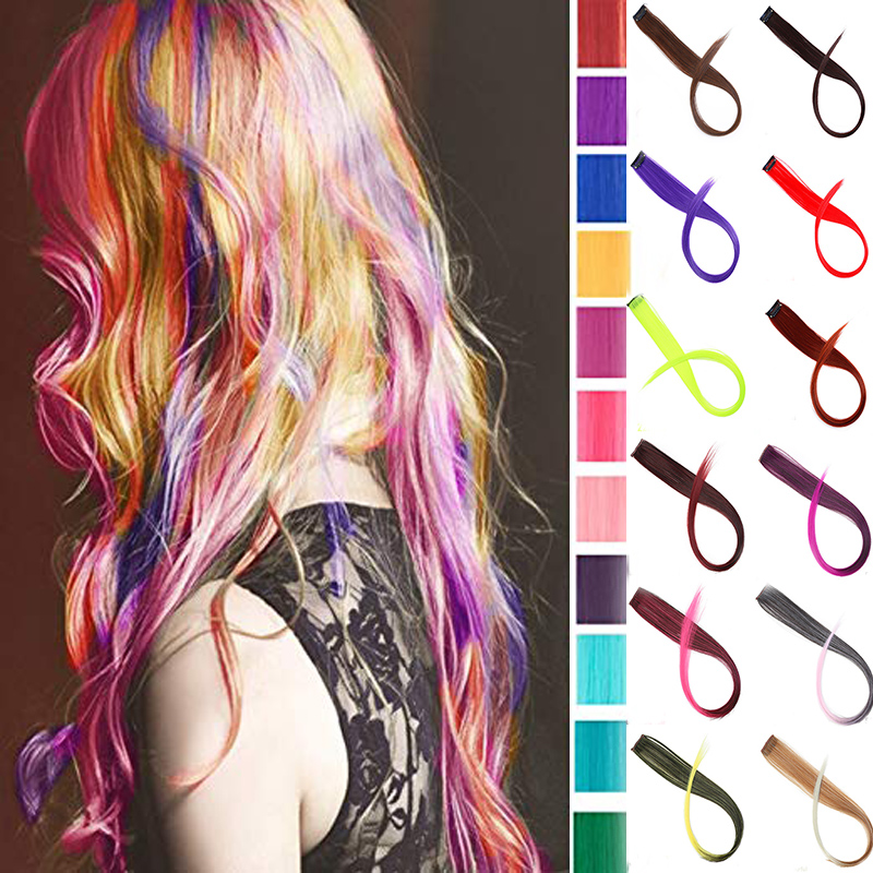 BUQI Long Straight Color Hair Piece Hair Extensions Clip In Highlight Rainbow Hair Streak Pink Synthetic Hair Strands On Clips