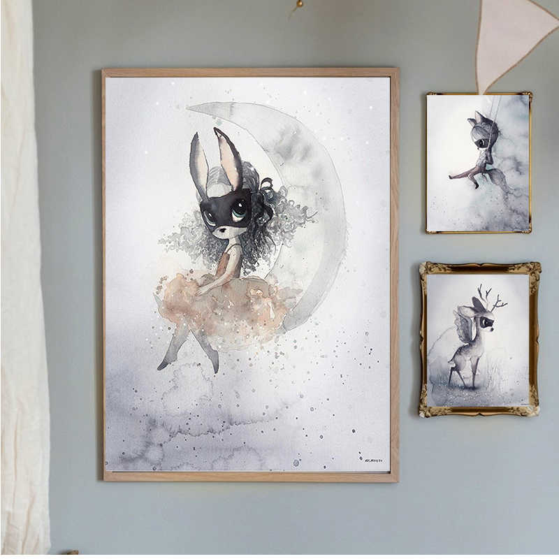 Cartoon Poster Wall Art Canvas Watercolour Rabbit Boy And Girls On The Wall Modular Pictures Nursery Kids Girls Room Decoration Painting Calligraphy Aliexpress