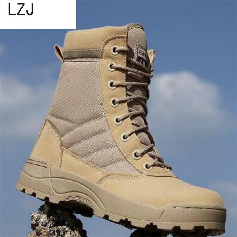 New 2019 Desert Men Tactical Military Boots Safty Work Shoes Men SWAT Boot Zapatos Ankle Lace-up Army Combat Boots Size 40-45
