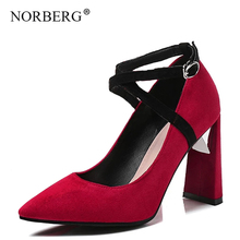 NORBERG new women  shoes cross buckle with high heels banquet dance wild fashion